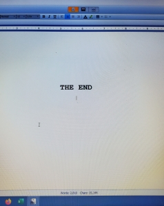 The End type on computer screen